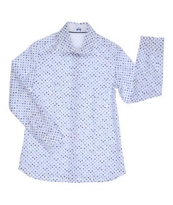 Gymp wit hemd met blauwe print