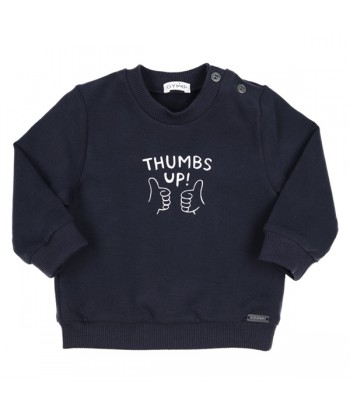 GYMP blauwe sweater thumbs up